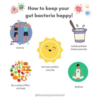 Having good gut health is important to help manage your anxiety but also for your immunity, improving IBS, and has even been thought to help in weight management!  Having a healthy gut  is where we have a good balance of good bacteria in our gut. Good bacteria prevent the growth of bad bacteria, keeping pathogens out of our body and helping us to have a strong immune system.   So how can we keep out gut bacteria happy? 🦠   ✔️ Eat probiotic foods, including yoghurt, kefir, pickles, sourdough bread, tempah and some cheeses. 🍞🧀🥛 ✔️Eat foods high in fibre, fibre is the food our gut bacteria eat and is an essential for their survival. Oats, berries, bananas, apples, asparagus, garlic, onions, legumes, beans and peas are good high-fibre foods to include in your diet. 🧄🍎🍌🍓🌾 ✔️ Eat a VARIETY of fibre-rich foods, the greater the variety in our diet, the greater the diversity of bacteria in our gut, which helps it to be healthy and strong.  ✔️Mediate or do activities to relax and relieve stress. Stress affects our gut and our gut bacteria too. 🧘🏻♂️  ✔️Exercising often, all forms of exercise are good! Surprisingly, exercise has been found to affect the diversity of our gut microbiome. 🏃♂️ 🏊🏻♂️  ✔️Getting some sunshine each day, we get vitamin D through our exposure to the sun. Vitamin D is important for regulating our mood, immune system, and also digestive disorders. ☀️  #foodismedicine #anxietyrelief #guthealth #healyourgut #gutmicrobiome #brisbanedietitian #guthealing #ibs #anxietynutrition #anxietydietitian #foodformood #goodbacteria #pcos #eattherainbow #bloated #pcosdiet #fetrtilitydiet #mediteraneandiet #eliminationdiet #beyondblue #fitnessmotivation #workoutime #gutbrainaxisyoga